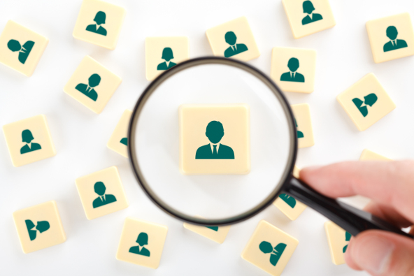 Human resources personal audit and assessment center concept - recruiter look for employee represented by icon.